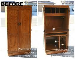 Computer Armoire With Pocket Doors Armoire Corner Computer Armoire Plans Sedona Rustic Oak Wood