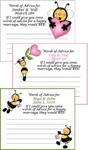 words of wisdom cards for bridal shower personalized bridal shower advice cards