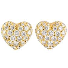 heart shaped diamond earrings cartier diamond gold heart shaped earrings for sale at 1stdibs