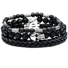 black bead skull bracelet images Catacomb mens skull bracelet stack with black leather and stone beads png
