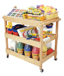 amazon com ecr4kids mobile hardwood rolling utility cart natural