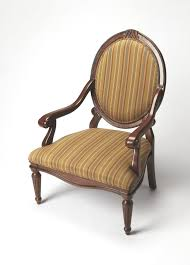 Wooden Accent Chair Furniture Brown Wooden Chair With Arm Using Round Back Having