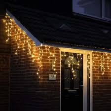 snowing icicle outdoor lights 480 warm white led snowing icicles with timer