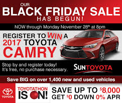 best black friday car deals 2017 black friday deals at sun toyota