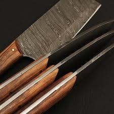 damascus kitchen cutlery set set of 4 black forge knives