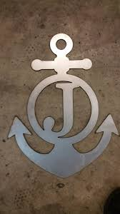bare metal anchor w monogram initial letter custom sign room zoom