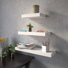 wall decor wall shelf set of 3 floating shelves organizer white