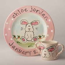 birth plates personalized personalized painted baby bunny birth plate and cup set