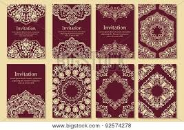henna invitation set of invitations cards with ethnic henna elements arabesque