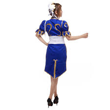 Chinese Costume Halloween Japanese Game Sf Street Fighter Female Player Chun Li Blue