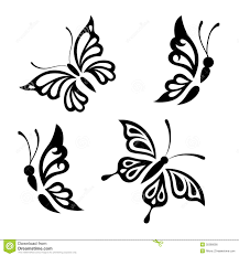 collection black and white butterflies stock vector illustration