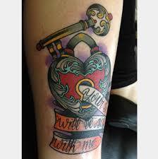 traditional key heart lock n banner tattoo design photos