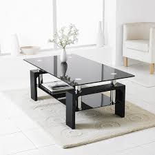 Lower Coffee Table by Neotechs Black Modern Rectangle U0026 Black Glass Chrome Living Room