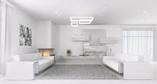 living rooms with two sofas interior of modern white living room with two sofas 3d render stock