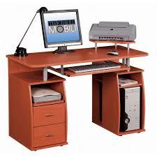 Computer Workstation Desk Techni Mobili Complete Computer Workstation Dark Honey Walmart Com