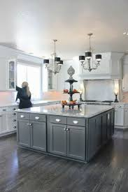 Wood Island Kitchen by Gray Kitchen Cabinets With Black Counter White Spray Paint Wooden