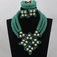 aliexpress bead necklace images Fantastic teal green wedding nigerian beads jewelry set gold jpg