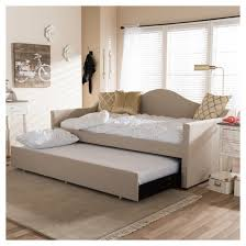 Upholstered Daybed With Trundle Prime Modern And Contemporary Linen Fabric Upholstered Arched Back