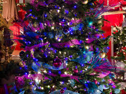 purple and green tree decorations tree