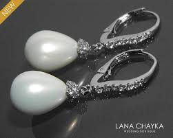 silver dangle earrings for prom white teardrop pearl bridal earrings pearl cz leverback wedding