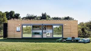 stylish house stylish shipping container house is topped by a green roof