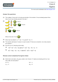 grade 6 math worksheets and problems algebra edugain global