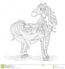 lovely horse coloring page stock vector image 58878789