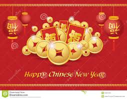 new year gold coins happy new year card is lanterns gold coins money reward