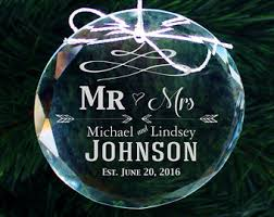 personalized wedding christmas ornaments newlywed ornament etsy