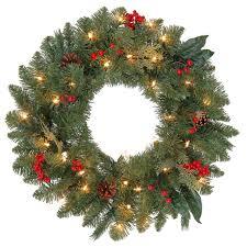 martha stewart living wreath 24 in pre lit winslow fir