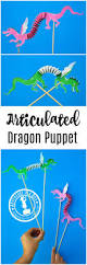 articulated dragon puppet with free printable template dragon