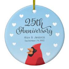 25th wedding anniversary christmas ornament 25 years together ornaments keepsake ornaments zazzle