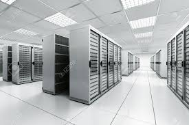 3d rendering of a server room with white servers stock photo