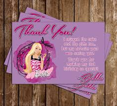 novel concept designs barbie doll birthday party thank you card