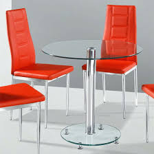 glass dining table with red leather chairs miami red glass dining