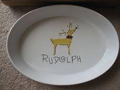 pottery barn reindeer rudolph large oval serving platter