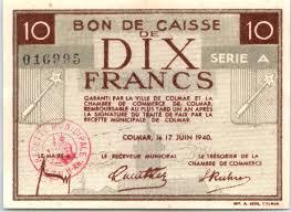chambre de commerce colmar banknote 10 francs colmar chambre de commerce série a 1940
