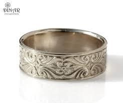 14k white gold wedding band engraved scrolls leaf men