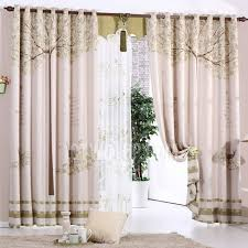 thick polyester green tree pattern country style thermal blackout