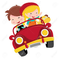 cartoon convertible car a cartoon illustration of two happy kids boy and riding