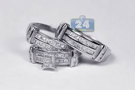 wedding ring sets for women mens womens diamond wedding bands rings set 14k gold 1 34 ct