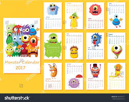 cute happy halloween clip art calendar 2017 cute halloween monsters every stock vector 482358577