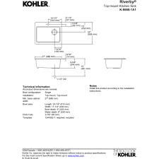 Kohler Kitchen Faucet Parts Diagram by Kohler K 8668 1a1 0 Riverby White Drop In Single Bowl Kitchen