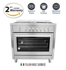 Italian Cooktop 36 In Gas Range With 5 Italian Made Burners And Rotisserie