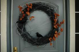 Halloween Door Wreath by Homemade Halloween Door Decorations