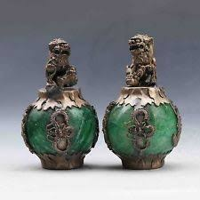 jade lion statue foo dog green antique statues ebay