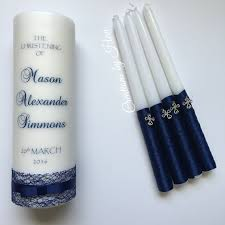 baptismal candle baptism candle set in navy blue baptisms and christenings
