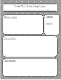 guided math small group lesson plan template by first belle tpt