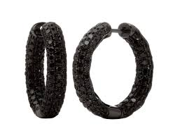 black diamond hoop earrings 18k gold black diamond cognac diamond blue sapphire hoops