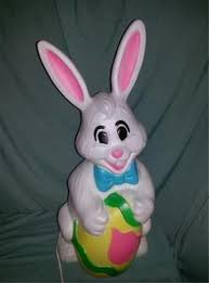 bunny figurines he she white rabbits painted ceramic